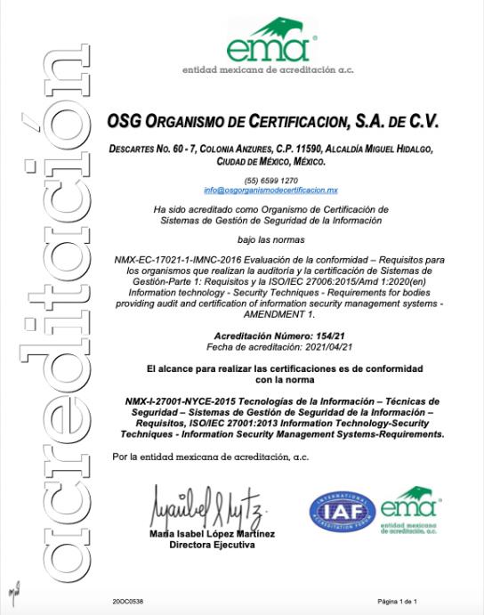 ISO 27001-2013 SISTEMA DE GESTION DE SEGURIDAD PARA LA SEGURIDAD DE LA INFORMACION